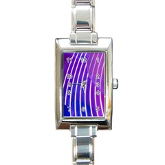Rays Light Chevron Blue Purple Line Light Rectangle Italian Charm Watch by Mariart
