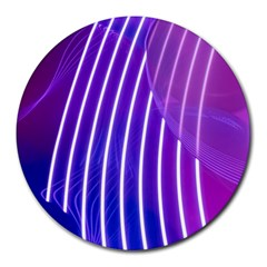 Rays Light Chevron Blue Purple Line Light Round Mousepads