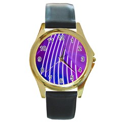 Rays Light Chevron Blue Purple Line Light Round Gold Metal Watch by Mariart