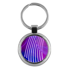 Rays Light Chevron Blue Purple Line Light Key Chains (round)  by Mariart
