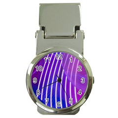 Rays Light Chevron Blue Purple Line Light Money Clip Watches by Mariart