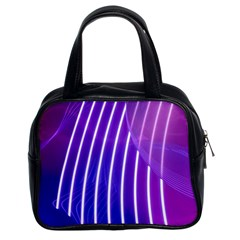 Rays Light Chevron Blue Purple Line Light Classic Handbags (2 Sides) by Mariart