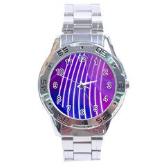 Rays Light Chevron Blue Purple Line Light Stainless Steel Analogue Watch by Mariart