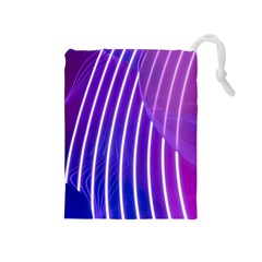 Rays Light Chevron Blue Purple Line Light Drawstring Pouches (medium)  by Mariart