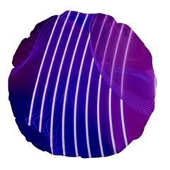 Rays Light Chevron Blue Purple Line Light Large 18  Premium Flano Round Cushions by Mariart
