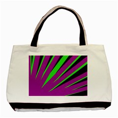 Rays Light Chevron Purple Green Black Basic Tote Bag (two Sides) by Mariart