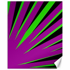 Rays Light Chevron Purple Green Black Canvas 11  X 14   by Mariart