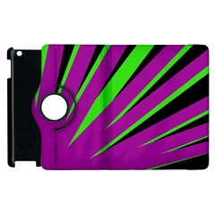 Rays Light Chevron Purple Green Black Apple Ipad 3/4 Flip 360 Case by Mariart