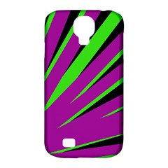 Rays Light Chevron Purple Green Black Samsung Galaxy S4 Classic Hardshell Case (pc+silicone) by Mariart