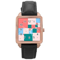 Simple Perfect Squares Squares Order Rose Gold Leather Watch  by Mariart