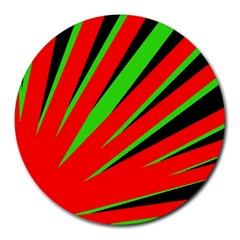 Rays Light Chevron Red Green Black Round Mousepads