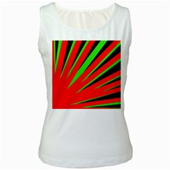 Rays Light Chevron Red Green Black Women s White Tank Top by Mariart