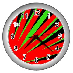 Rays Light Chevron Red Green Black Wall Clocks (silver)  by Mariart