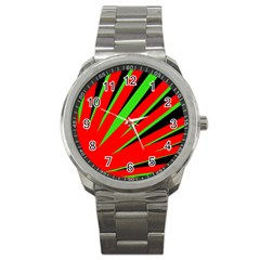 Rays Light Chevron Red Green Black Sport Metal Watch by Mariart