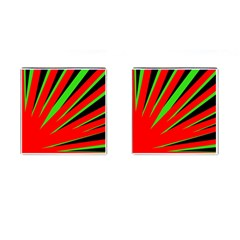 Rays Light Chevron Red Green Black Cufflinks (square) by Mariart