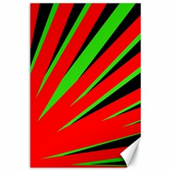 Rays Light Chevron Red Green Black Canvas 24  X 36  by Mariart