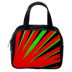 Rays Light Chevron Red Green Black Classic Handbags (one Side) by Mariart