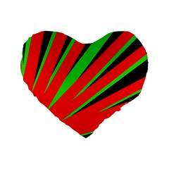 Rays Light Chevron Red Green Black Standard 16  Premium Heart Shape Cushions by Mariart