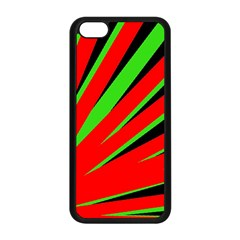Rays Light Chevron Red Green Black Apple Iphone 5c Seamless Case (black) by Mariart