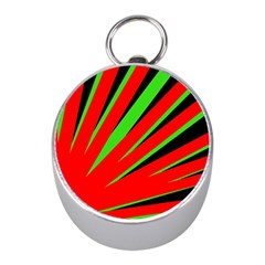Rays Light Chevron Red Green Black Mini Silver Compasses by Mariart