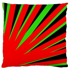 Rays Light Chevron Red Green Black Large Flano Cushion Case (two Sides) by Mariart