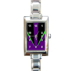 Rays Light Chevron Purple Green Black Line Rectangle Italian Charm Watch by Mariart