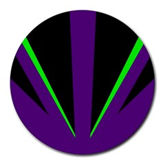 Rays Light Chevron Purple Green Black Line Round Mousepads by Mariart