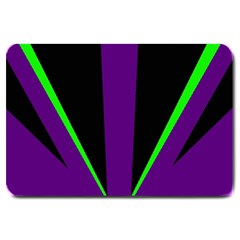 Rays Light Chevron Purple Green Black Line Large Doormat  by Mariart