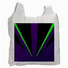Rays Light Chevron Purple Green Black Line Recycle Bag (one Side)