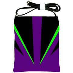 Rays Light Chevron Purple Green Black Line Shoulder Sling Bags by Mariart