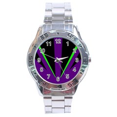 Rays Light Chevron Purple Green Black Line Stainless Steel Analogue Watch by Mariart