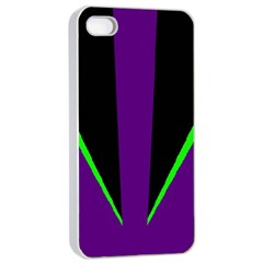 Rays Light Chevron Purple Green Black Line Apple Iphone 4/4s Seamless Case (white) by Mariart