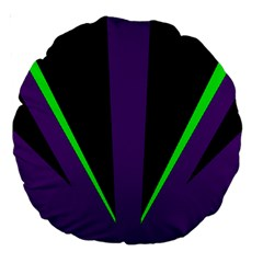 Rays Light Chevron Purple Green Black Line Large 18  Premium Round Cushions by Mariart