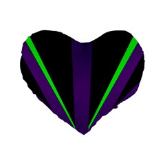 Rays Light Chevron Purple Green Black Line Standard 16  Premium Heart Shape Cushions by Mariart