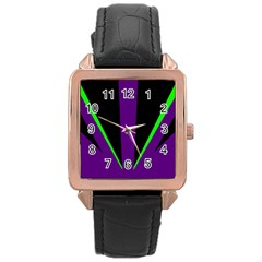 Rays Light Chevron Purple Green Black Line Rose Gold Leather Watch  by Mariart