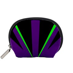 Rays Light Chevron Purple Green Black Line Accessory Pouches (small)  by Mariart