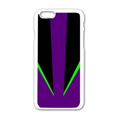 Rays Light Chevron Purple Green Black Line Apple Iphone 6/6s White Enamel Case by Mariart