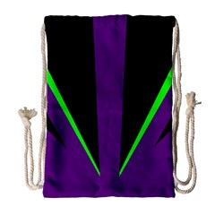 Rays Light Chevron Purple Green Black Line Drawstring Bag (large) by Mariart
