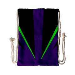 Rays Light Chevron Purple Green Black Line Drawstring Bag (small) by Mariart