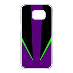 Rays Light Chevron Purple Green Black Line Samsung Galaxy S7 Edge White Seamless Case by Mariart