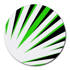 Rays Light Chevron White Green Black Round Mousepads by Mariart