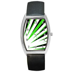 Rays Light Chevron White Green Black Barrel Style Metal Watch by Mariart