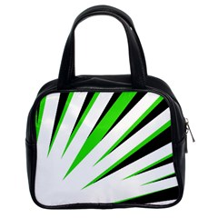 Rays Light Chevron White Green Black Classic Handbags (2 Sides) by Mariart