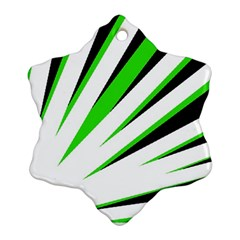 Rays Light Chevron White Green Black Ornament (snowflake)