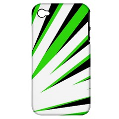 Rays Light Chevron White Green Black Apple Iphone 4/4s Hardshell Case (pc+silicone)