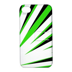 Rays Light Chevron White Green Black Apple Iphone 4/4s Hardshell Case With Stand by Mariart