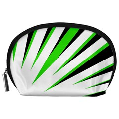 Rays Light Chevron White Green Black Accessory Pouches (large)  by Mariart