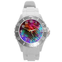 Rainbow Shake Light Line Round Plastic Sport Watch (l) by Mariart