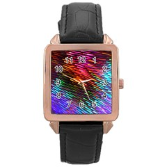 Rainbow Shake Light Line Rose Gold Leather Watch