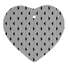 Stripes Line Triangles Vertical Black Ornament (heart) by Mariart